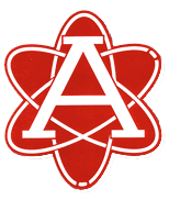 a graphic of the atom logo