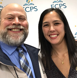 a photo of Ms. Kathleen Mathis and Principal Tim Thomas at the 2018 FCPS Excellence ceremony.